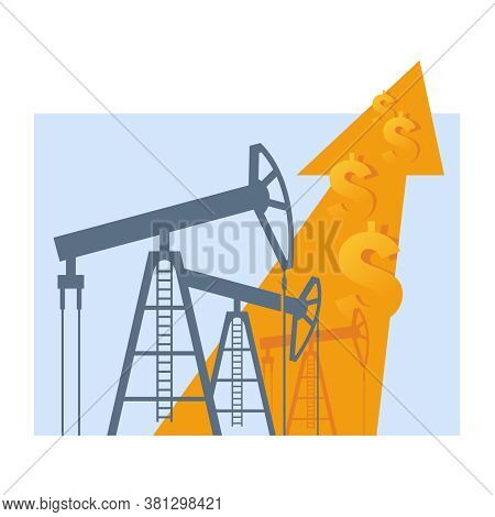 Oil Production Growth And World Currencies Rates - Derrick With Arrow Up And Dollar Signs - World Pr