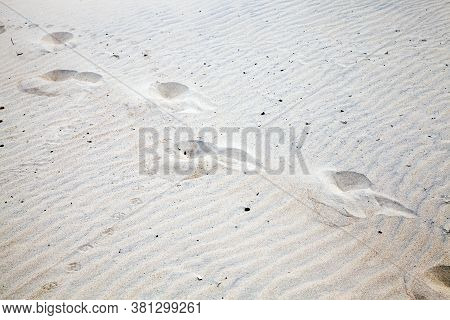 Traces Of A Lone Person Walking Along The Seashore During A Holiday Without Companions, The Concept