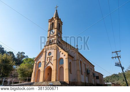 View Of A Catholic Church Of Faith In The City Of Mata, State Of Rio Grande Do Sul, Brazil. Tourism