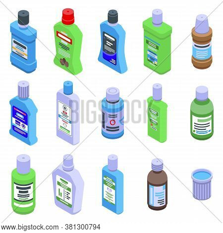 Mouthwash Icons Set. Isometric Set Of Mouthwash Vector Icons For Web Design Isolated On White Backgr