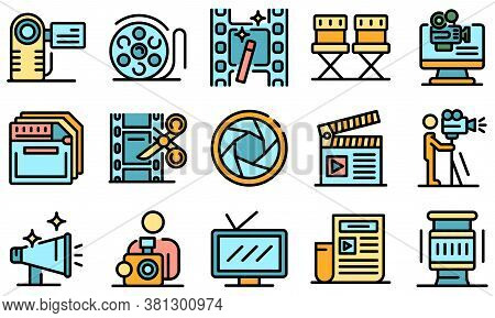 Cameraman Icons Set. Outline Set Of Cameraman Vector Icons Thin Line Color Flat On White