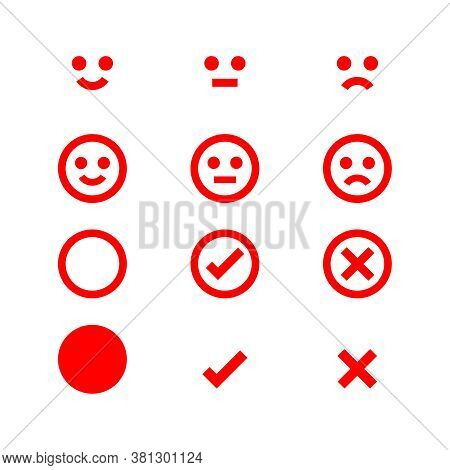 Emotions Face Red Icon, Emotional Symbol And Approval Check Sign, Red Emotions Faces And Check Mark