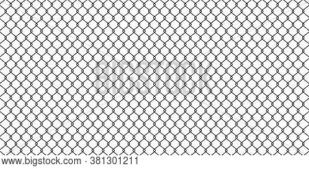 Black Wire Mesh Isolated On White Background, Barrier Net, Wire Net Metal Wall, Barbed Wire Fence