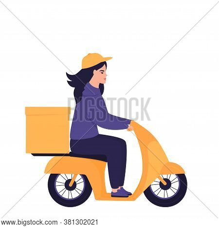 Girl Courier On A Motorcycle Delivers Parcel
