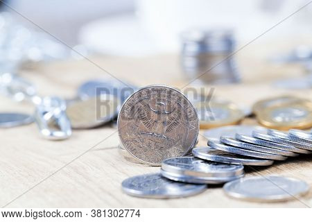 Quarter American Dollar Coins Twenty-five Cents Money Close-up, American Currency Freely Convertible