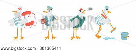 Set Of Cute Seagull Characters In Sailor Clothes. Animals In Striped T-shirt, Captain Hat And Dixie.