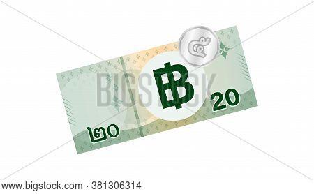 25 Baht Thai Banknote Money, Thai Currency Twenty Five Thb Concept