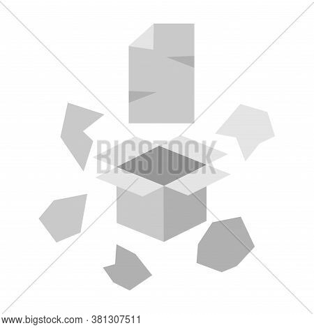 Simple Vector Clipart Of Waste Paper. Cardboard Box, Sheet Of Paper, Crumpled Scraps Of Paper Isolat