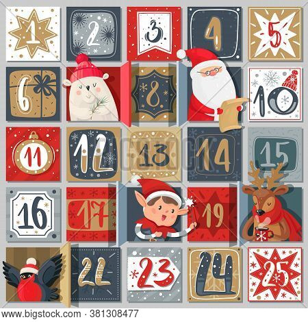 Advent Calendar. Winter Holiday Poster, December Dates Festive Events With Xmas Characters Santa Cla