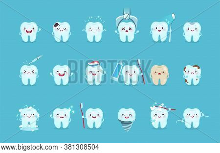 Cartoon Teeth. Cute Tooth Characters With Different Emotions And Hygiene Tools, Teeth Cleaning With