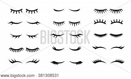 Closed Girl Eyes And Eyelashes. Various Closed Eye With Beautiful Black Eyelash Silhouette, Mascara