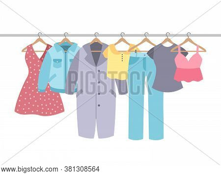 Clothes On Hangers. Garment With Hanger And Rack In Wardrobe. Cotton Shirt, Modern Dress And Coat, J