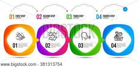 Human Sing, Skin Care And Presentation Time Line Icons Set. Timeline Steps. Like Sign. Talk, Hand Cr