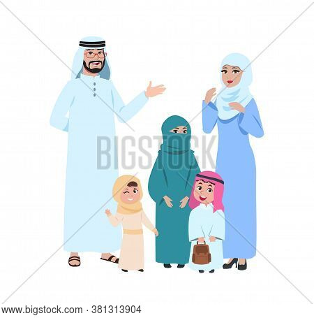 Happy Arab Family. Muslim Young People, Islamic Man Woman And Kids. Isolated Mother In Hijab Girl Bo