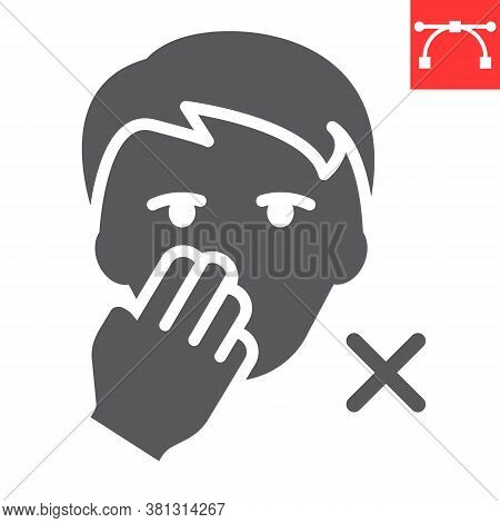Do Not Touch Your Face Glyph Icon, Coronavirus And Covid-19, Don T Touch Face Sign Vector Graphics,
