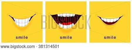 Smile Day Cards. Happy Smiles, Positive Mood. Yellow Laughter Banners, Funny Smiling Design. Success