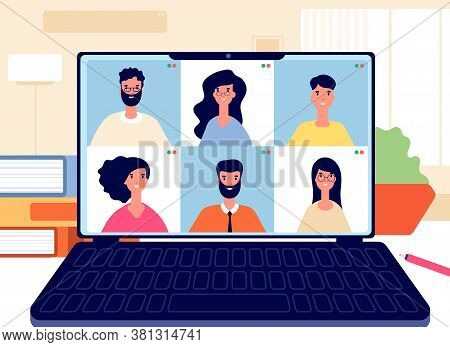 Home Video Call. Online Work Conference, Virtual Class Or Team. Remote Meeting Digital Business Chat