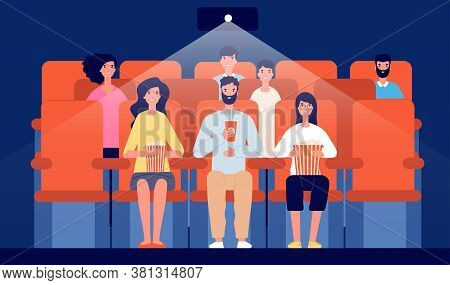 Family In Cinema. Cartoon Movie Theater, People Watching Film Eat And Drink. Audience Crowd, Enterta