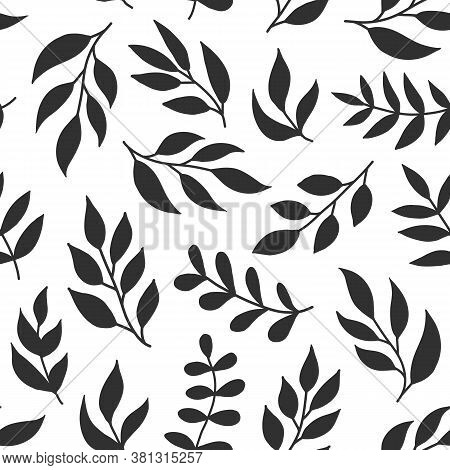 Floral Seamless Pattern With Fern, Different Leaves, Black Color Branches On White Background. Green