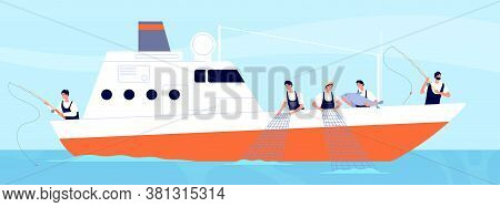 Fishery Season. Fishermen On Boat, Commercial Fishery Ship In Ocean. Industrial Vessel And Working F