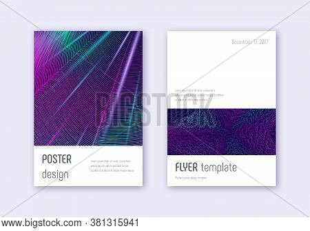 Minimalistic Cover Design Template Set. Neon Abstract Lines On Dark Blue Background. Ecstatic Cover