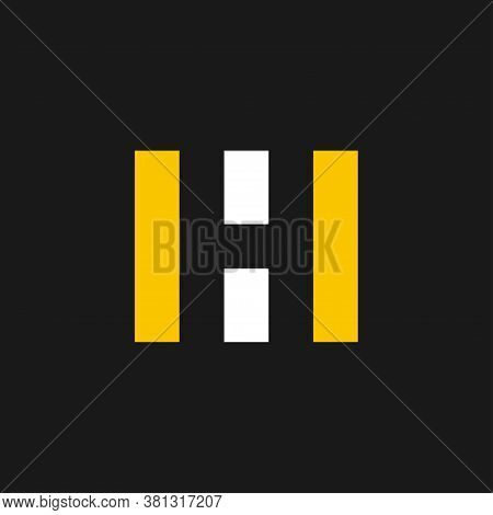 Road With Letter H Inside. Letter H Logo Design Concept Negative Space Style. Abstract Logo Of Road