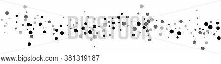 Scattered Random Black Dots. Dark Points Dispersion On White Background. Beauteous Grey Spots Disper