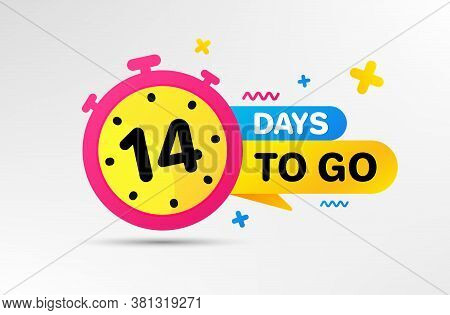 Fourteen Days Left Icon. Countdown Left Days Banner With Timer. 14 Days To Go Sign. Sale Announcemen