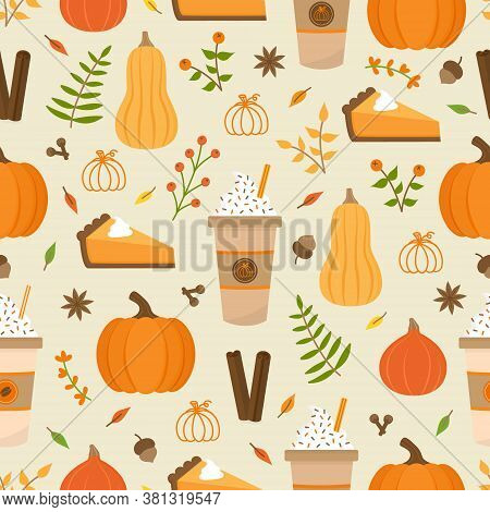 Pumpkin Spice Season Vector Hand Drawn Seamless Pattern. Cute Orange Pumpkin, Cup Of Coffee, Pumpkin