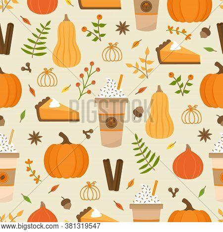 Pumpkin Spice Season Vector Hand Drawn Seamless Pattern. Cute Orange Pumpkin, Cup Of Coffee, Pumpkin