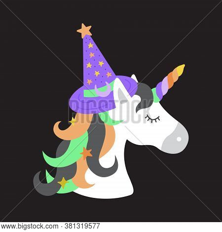 Witch Unicorn Vector Illustration. Hand Drawn Halloween Unicorn With Witch Hat In Spooky Colors. Iso