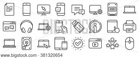 Laptop, Tablet Pc And Smartphone Icons. Mobile Device Line Icons. Hdd, Ssd And Flash Drive. Headphon