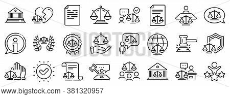 Scales Of Justice, Lawyer And Judge. Court Line Icons. Hammer, Law And Petition Document Set Icons.