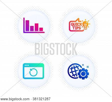 Education Idea, Recovery Internet And Histogram Icons Simple Set. Button With Halftone Dots. Seo Gea