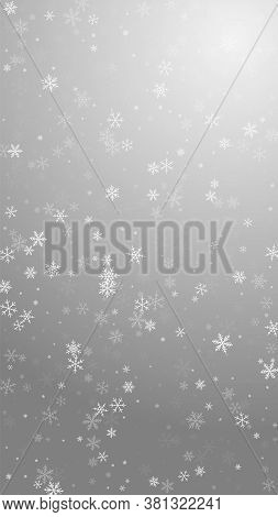 Sparse Snowfall Christmas Background. Subtle Flying Snow Flakes And Stars On Grey Background. Artist