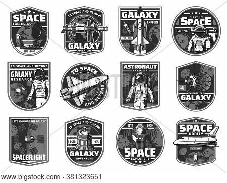 Outer Space Exploration, Galaxy Adventure Black And White Icons. Spaceships And Artificial Satellite