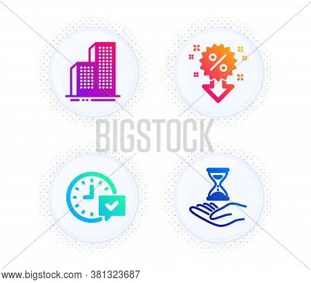 Skyscraper Buildings, Select Alarm And Discount Icons Simple Set. Button With Halftone Dots. Time Ho