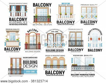 Windows And Balconies Vector Icons. House Exterior Or Interior, Apartment Building Architecture Desi