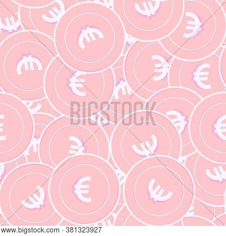 European Union Euro Copper Coins Seamless Pattern. Beautiful Scattered Pink Eur Coins. Success Conce