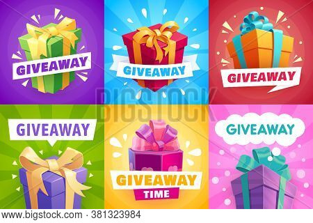 Giveaway Gifts, Give Away Competition Banners And Contest Winner, Vector Posters. Giveaway Free Priz