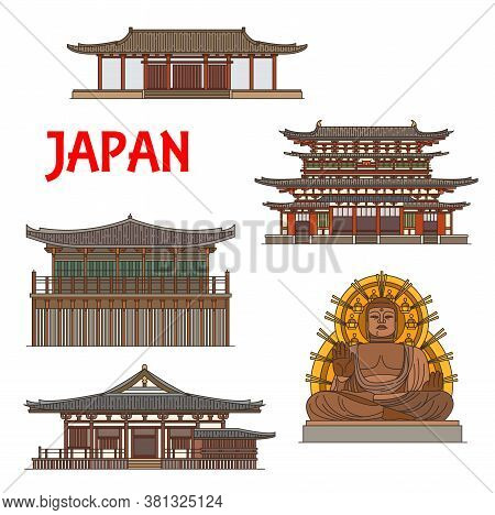 Japanese Temples, Shrines And Pagodas In Nara, Japan, Vector Buddhism Architecture, Buddha Statue La
