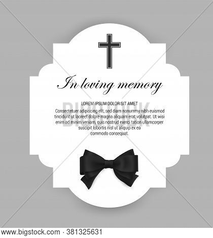 Funeral Vector Card, Obituary Memorial Frame, Necrologue Or Tomb Engraving Template. Funerary Card W