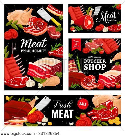 Meat, Butcher Shop Beef, Pork And Lamb Food, Vector Banners, Posters. Butchery Farm Market Menu Meat