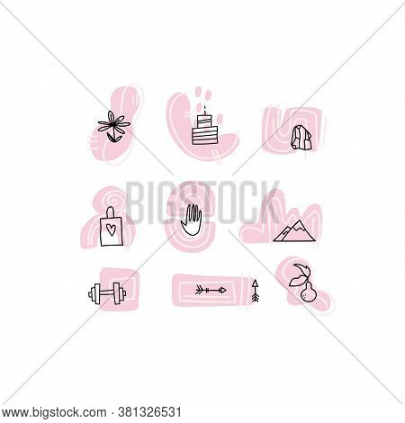 Highlight Covers Backgrounds. Set Of Beauty Icons, Logos. Modern Logo For Bloggers, Confectioner, Fi