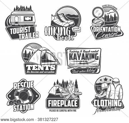 Camping, Hiking, Kayaking Icons, Travel Tourism Sport And Outdoor Adventure, Vector. Mountain Campin