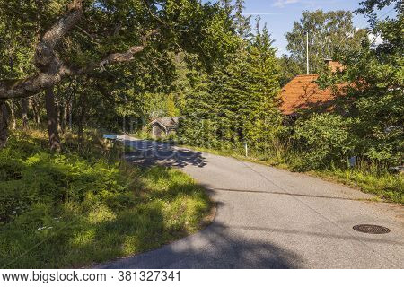 Beautiful Nature Landscape View. Bendy Country Road And Roofs Of Houses Between Green Trees.