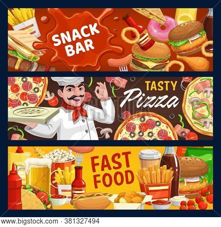 Fast Food And Snack Bar Vector Sandwich, Kebab And French Fries, Burgers, Donut And Ketchup Spot. Ch