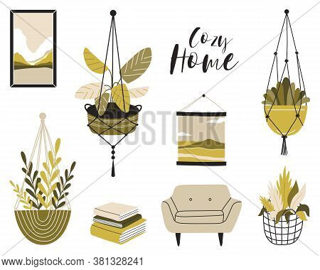 Illustration Of A Cozy Home. A Cute Illustration With An Armchair And Indoor Plants In Pots On The R
