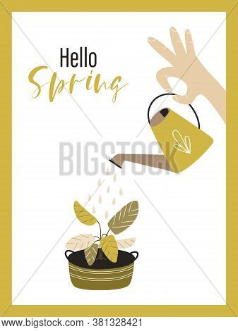 Cute Vector Card With The Inscription Hello Spring . A Man Is Watering Garden Flowers From A Waterin