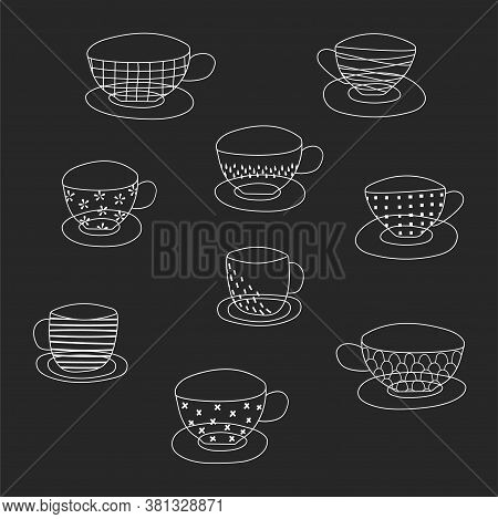 A Set Of Funny Cups Drawn By Hand-with Different Patterns. Silhouettes Of Coffee And Tea Cups. Vecto